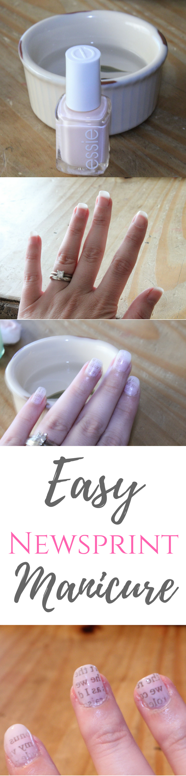Skip the trip to the nail salon and do this easy newsprint manicure at home.