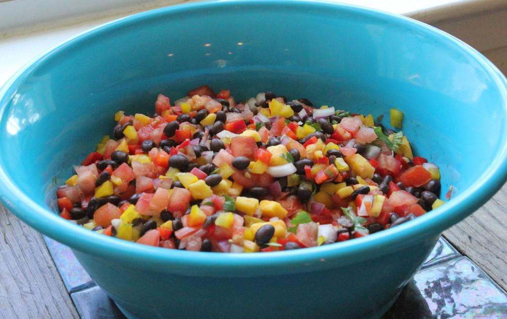 black bean and mango pico