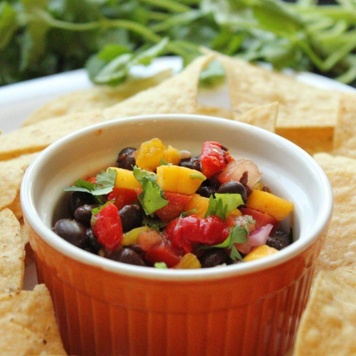 roasted black bean and mango pico