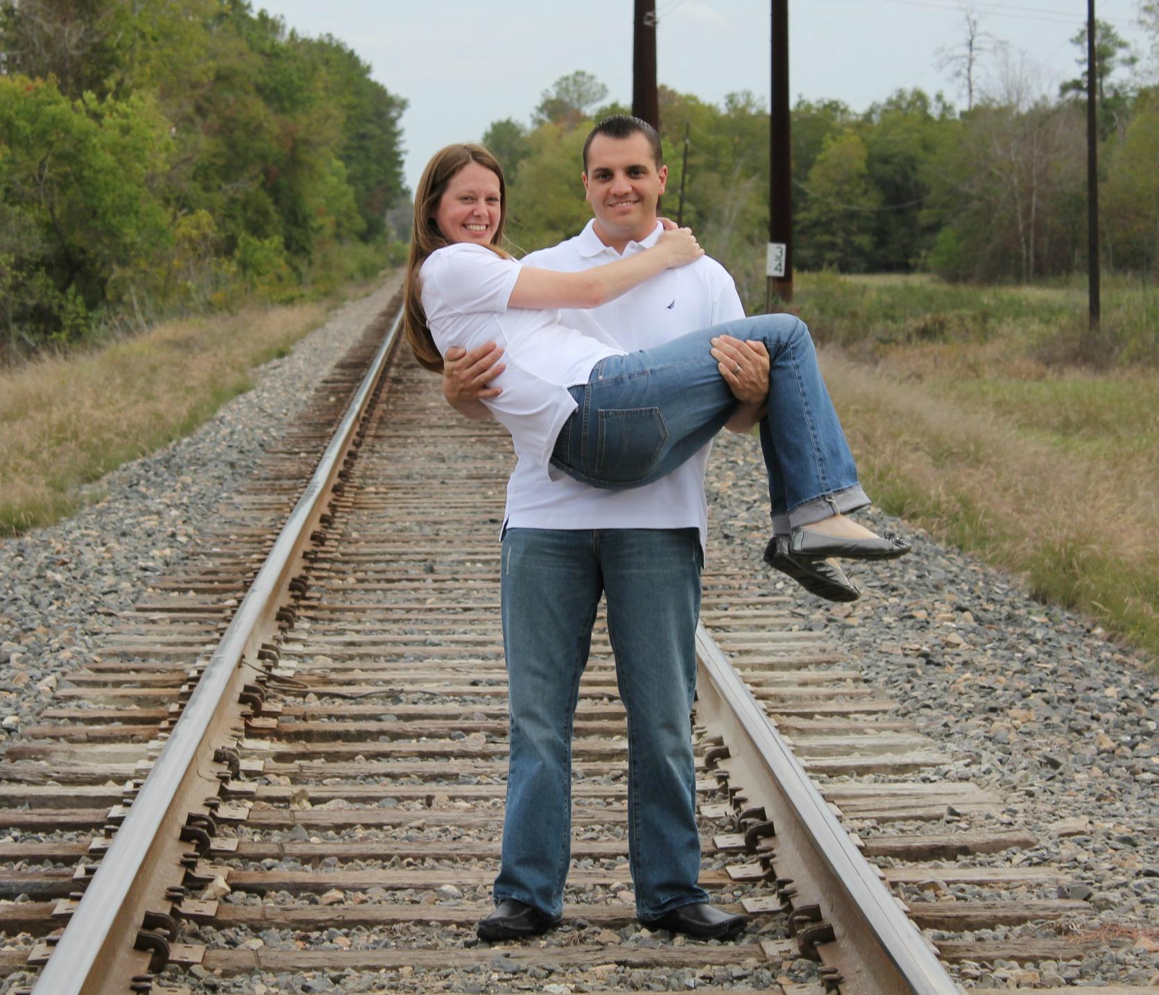 couple on a train track