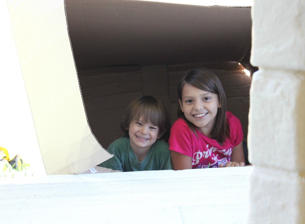 children playing in cardboard box