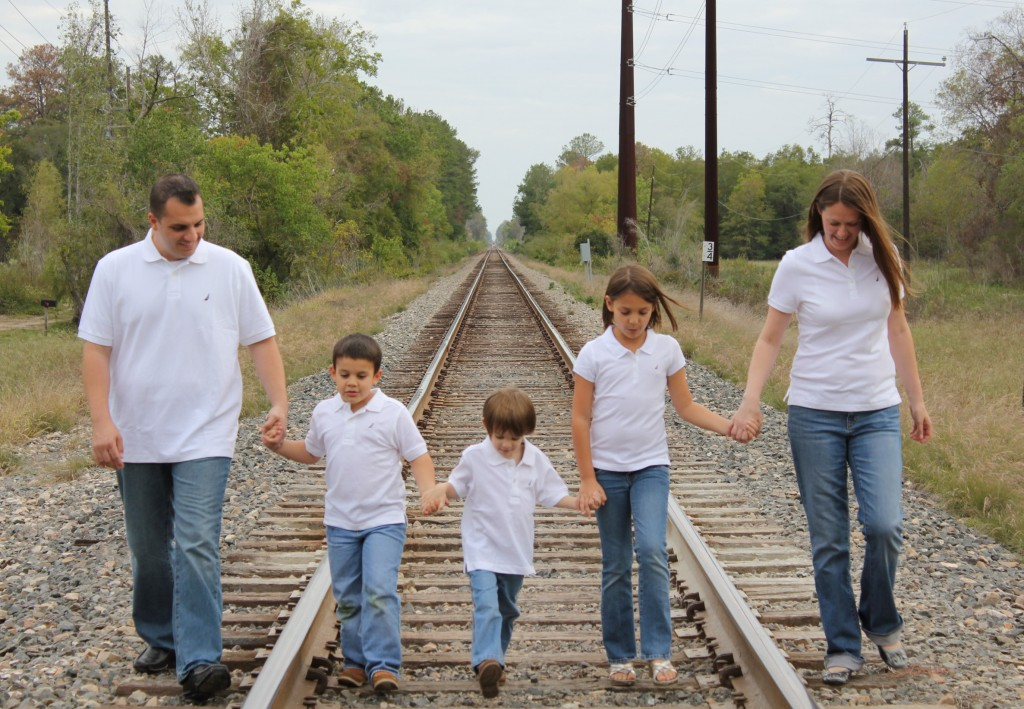 family picture on train track