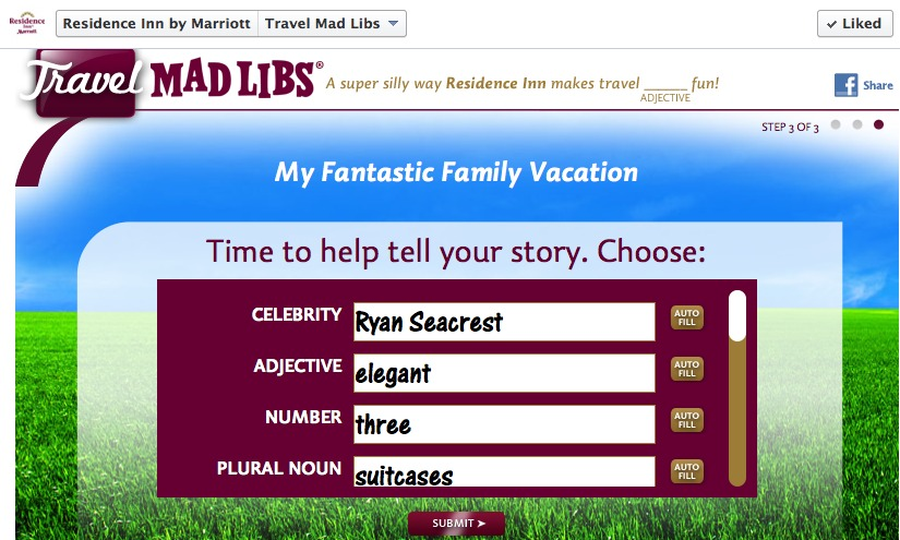 residence inn travel mad libs
