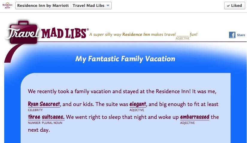 residence inn travel mad libs