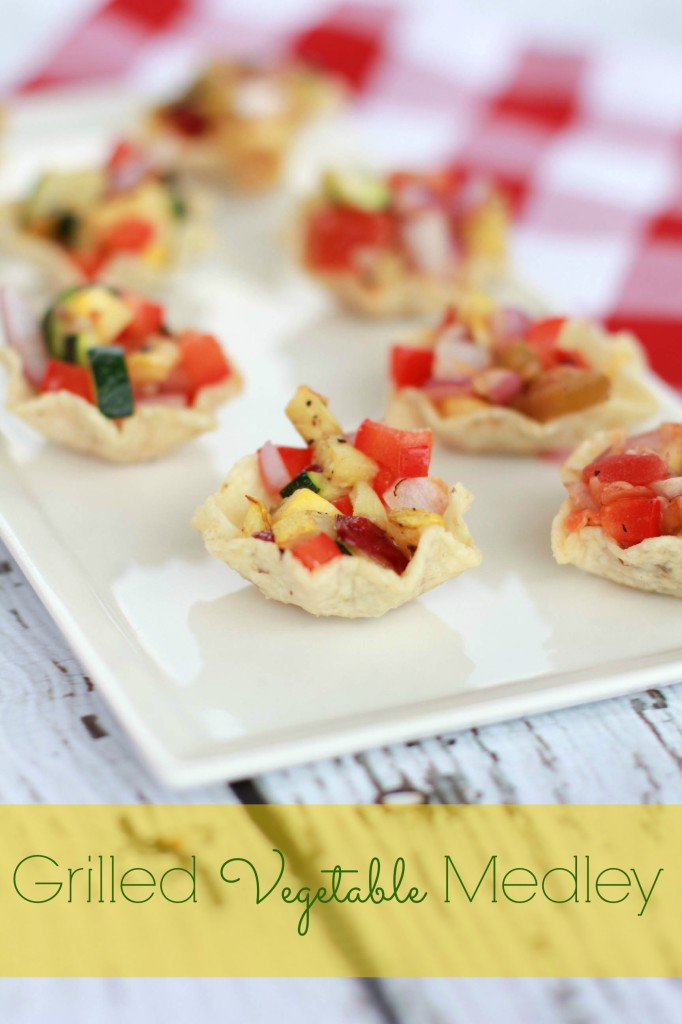 This Grilled Vegetable Medley features several colors of the rainbow and is perfect for cutting into small pieces and putting inside a Tostitos Scoops chip.