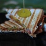 Leftover BBQ Turkey Bacon and Cheddar Cheese Panini