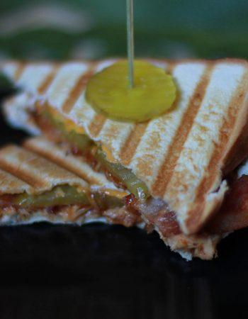 leftover bbq turkey bacon cheddar cheese panini
