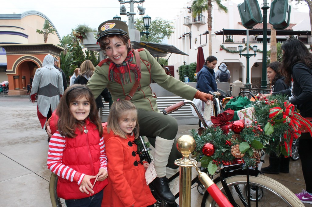 Girls & Bicycle Lady at Disneyland