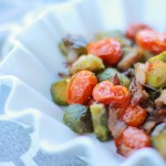 Roasted Brussels Sprouts and Grape Tomatoes with Bacon