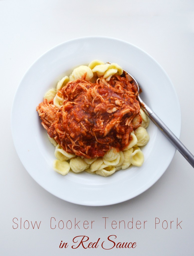 Slow cooker tender pork in red sauce