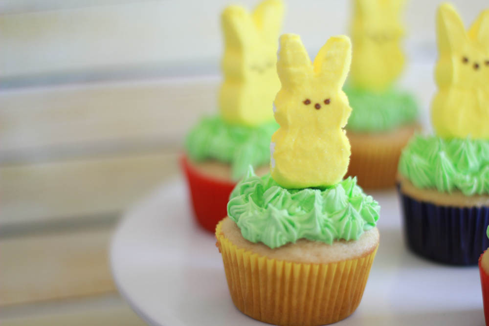 Easter cupcakes using Peeps marshmallow bunnies
