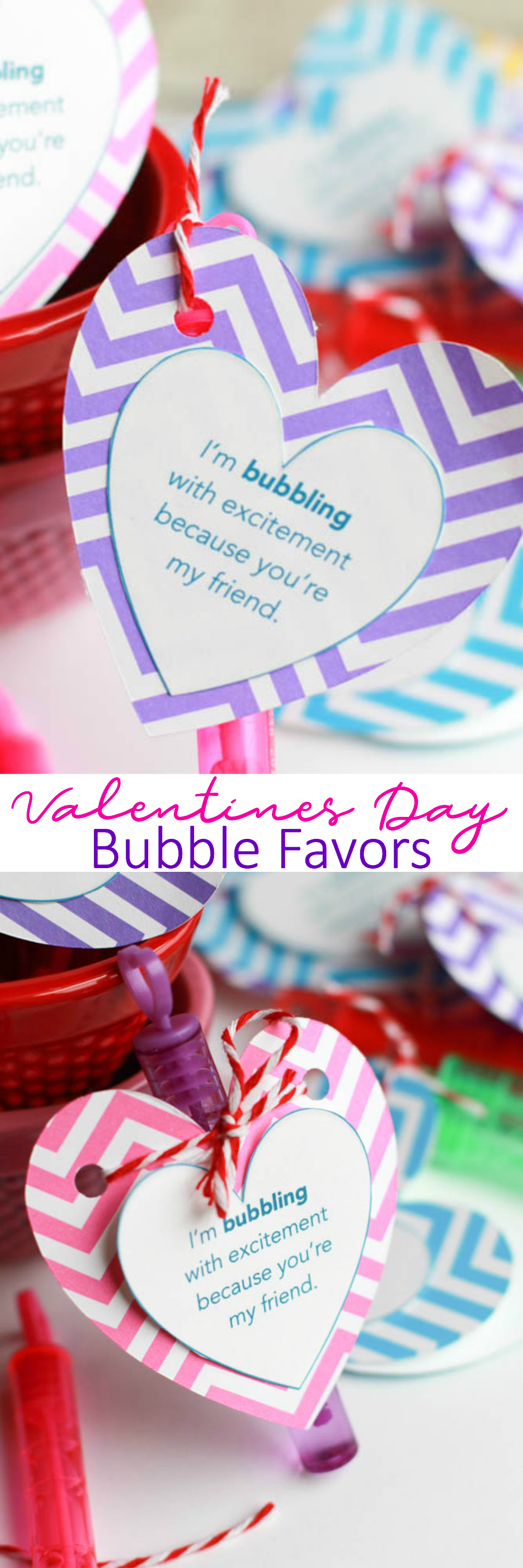 a bunch of Easy Valentine's Day Bubble Favors with store bought bubble wands and a free printable you can print right from here