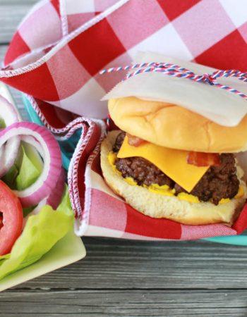 bacon cheddar stuffed cheeseburger