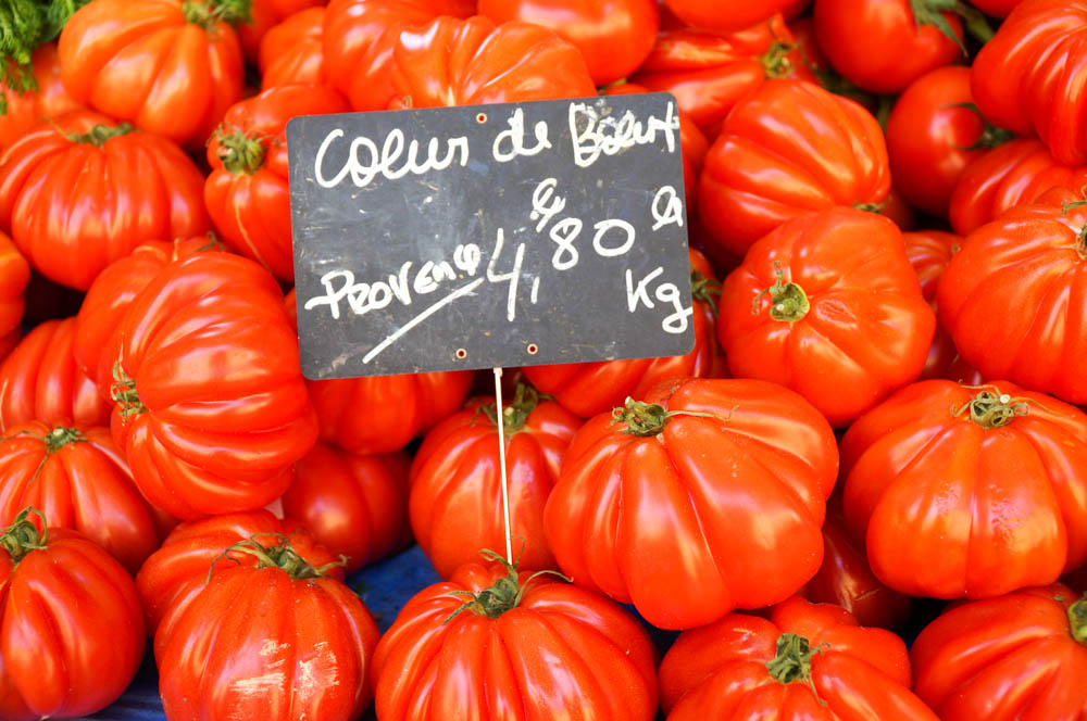 bright red tomatoes in fresh market in aix en provence france