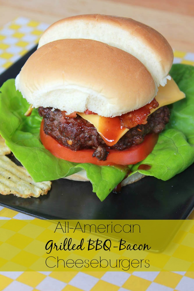 Fire up the grill and enjoy an All American Grilled BBQ-Bacon Cheeseburger!