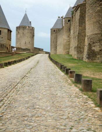 walkway between castles in carcassonne france