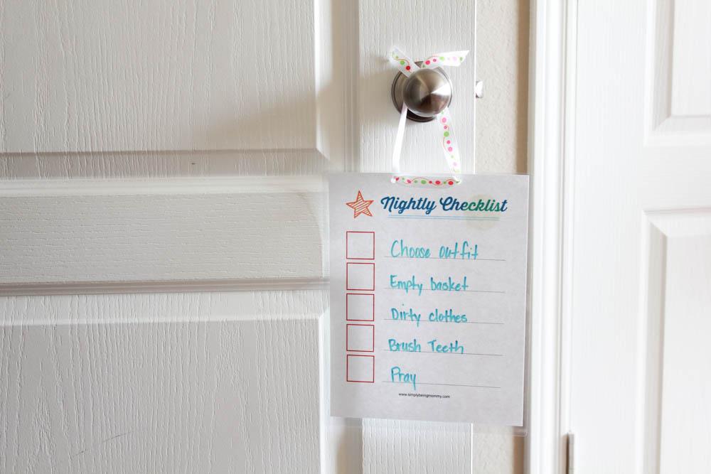 printable nightly checklist for children