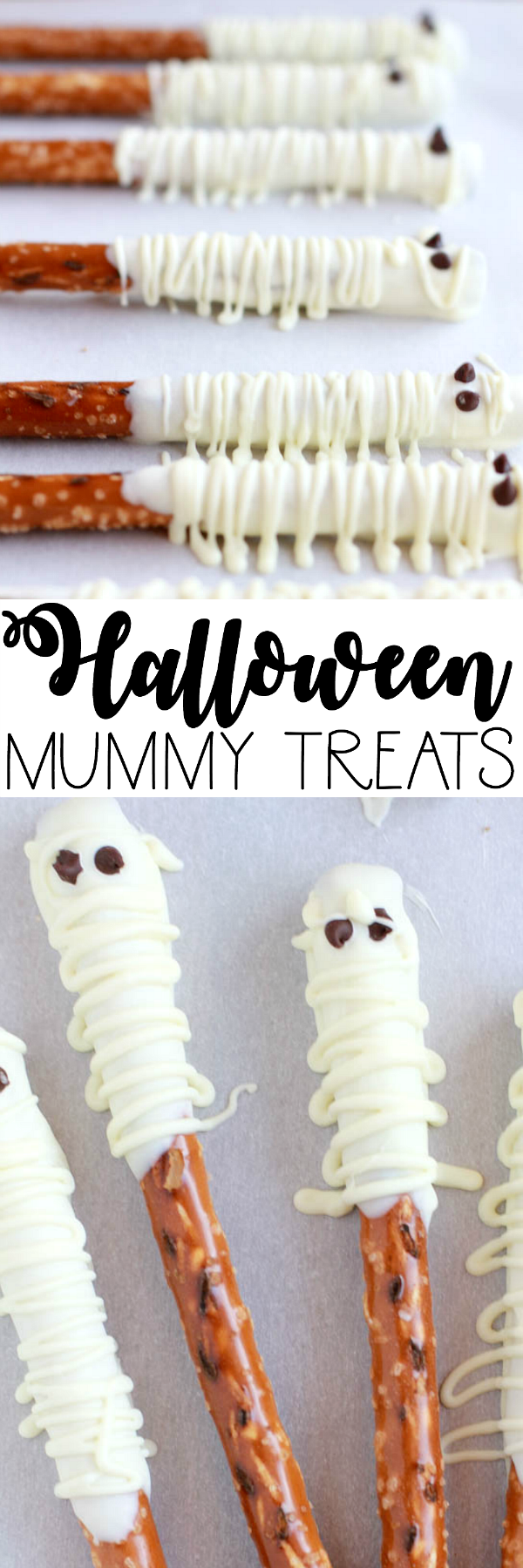 halloween mummy treats using pretzel rods