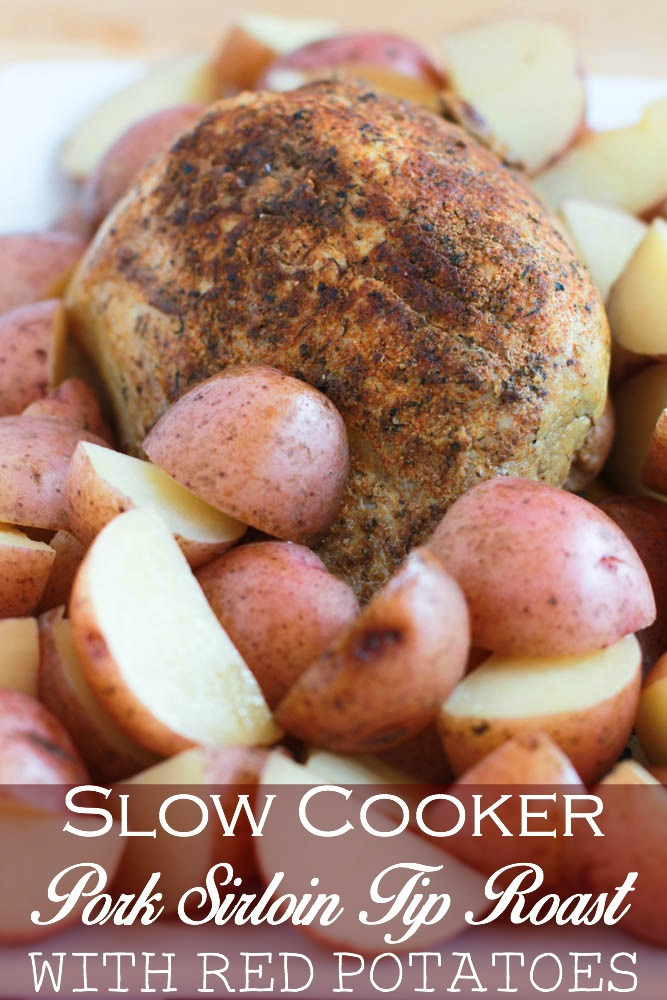 Enjoy an easy dinner with the help of the slow cooker. This Slow Cooker Pork Sirloin Tip Roast w/Red Potatoes is tasty without the hours at the stove.