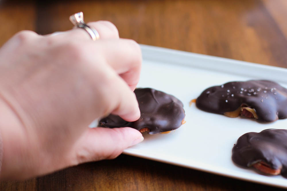homemade chocolate turtles