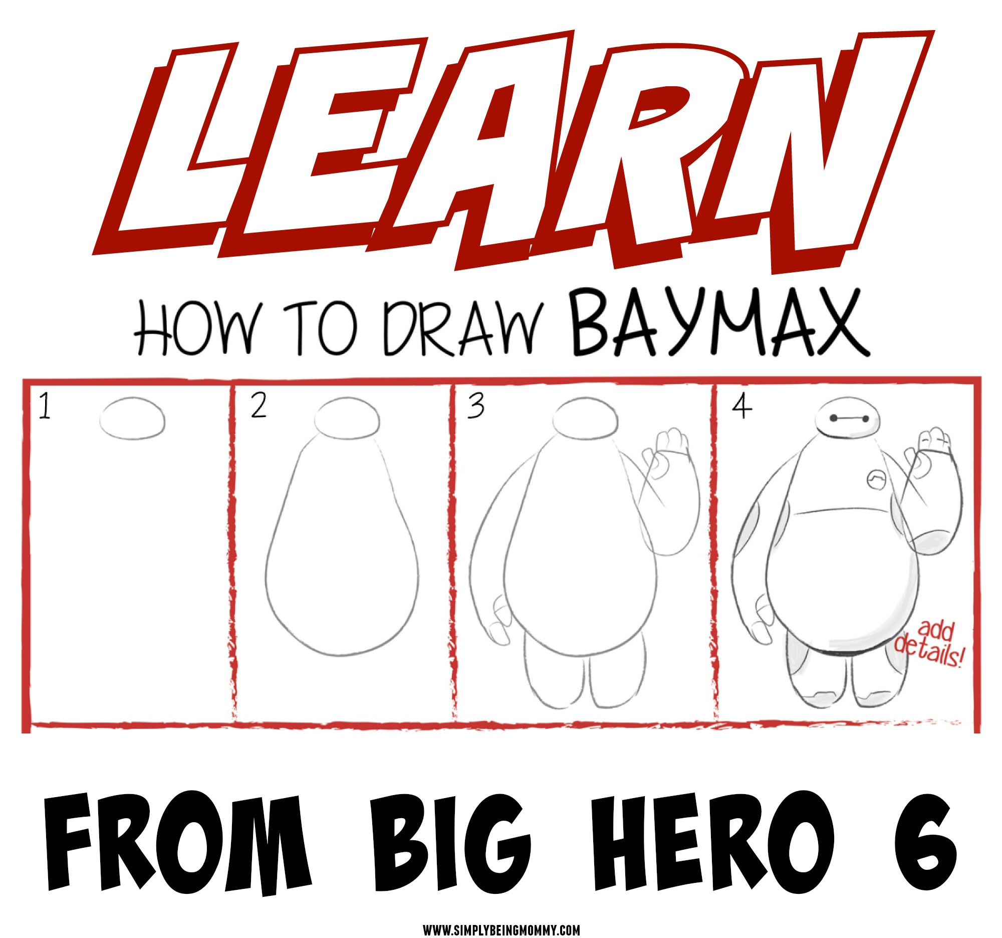 Learn How To Draw Baymax From Big Hero 6 Simply Being Mommy
