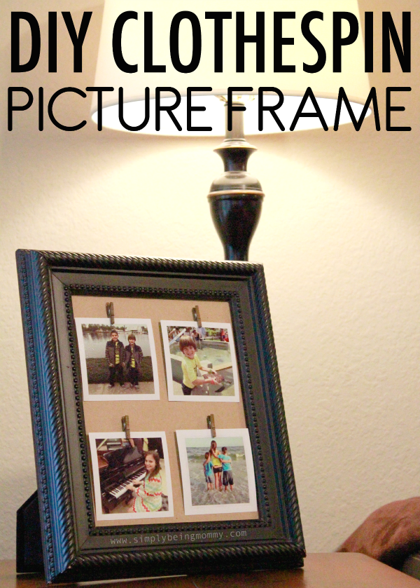 Repurpose a thrift store picture frame into a DIY Clothespin Picture Frame to display some of your favorite photos.
