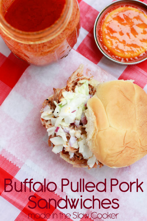 Enjoy the flavors of your favorite buffalo wings with this Slow Cooker Buffalo Pulled Pork Sandwiches Recipe.