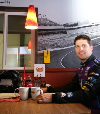 Denny's just announced a new partnership with Denny Hamlin, Denny's Denny's.