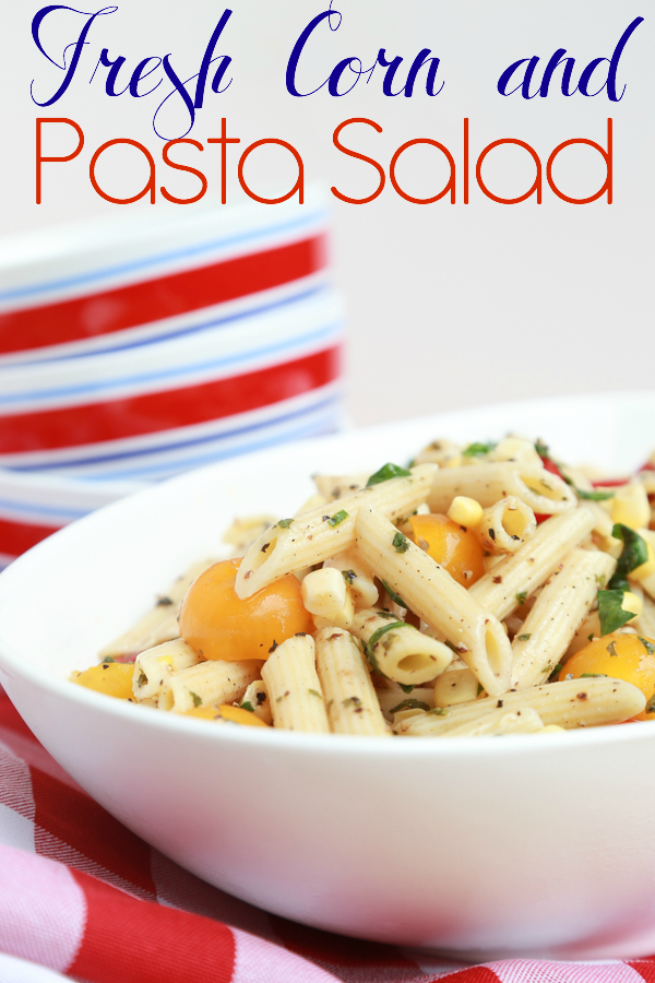 Enjoy the tastes and colors of summer with this Fresh Corn and Pasta Salad recipe. For this recipe and more go to simplybeingmommy.com.