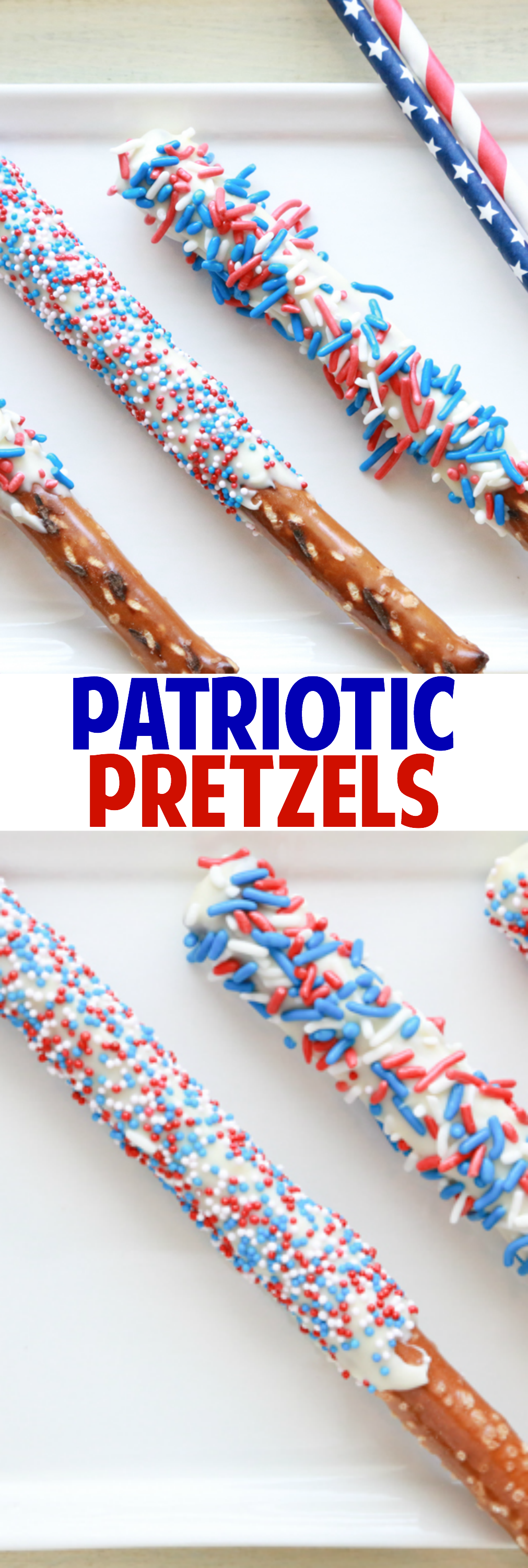 Celebrate the 4th of July with these fun and festive Patriotic Pretzels. With only three ingredients, they're the easiest treats you'll make.