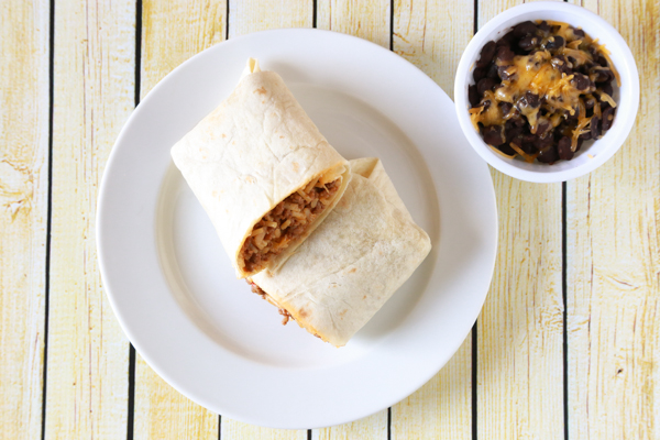 There's no shame in getting help from the grocery store when it comes to getting dinner on the table. See the shortcut I took with these Spanish Rice and Beef Burritos.