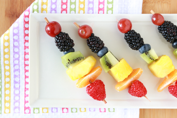 Get your kids in the kitchen and make these Rainbow Fruit Kabobs. Such an easy to way to eat all the colors of the rainbow.