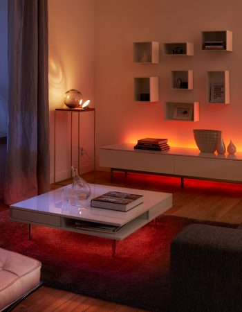 Experience a connected home using Philips Hue lighting. With the tap of your smartphone, you can change the lighting to match your mood.