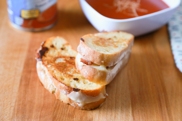 Every day is the perfect day for Rustic Bacon Grilled Cheese with a sweet tomato soup.