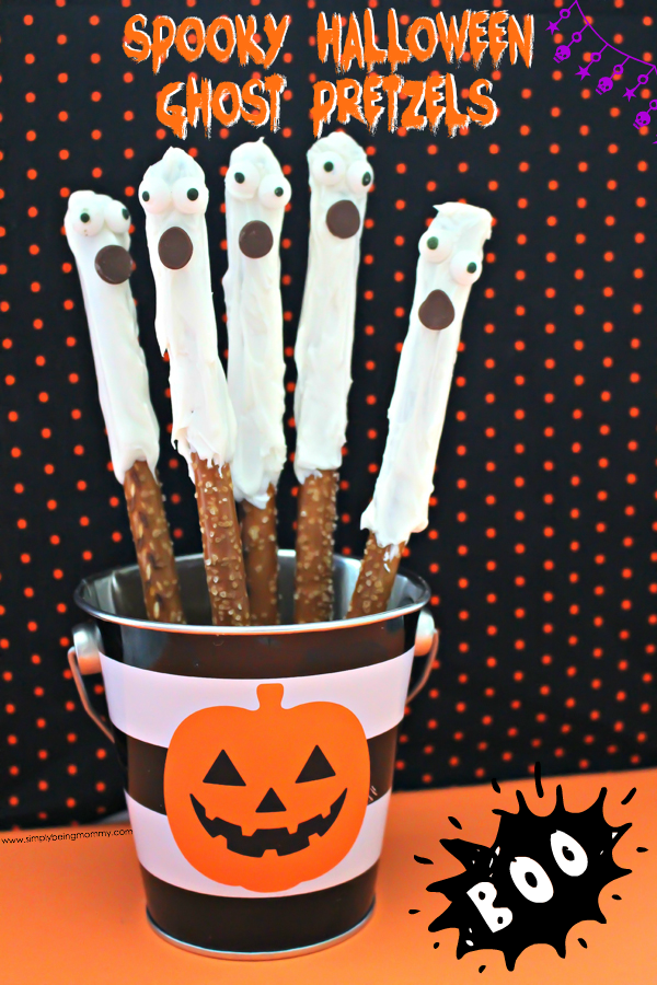 They're spooky. They're eery. But they'er delicious. Try these Spooky Halloween Ghost Pretzels for your next Halloween party.