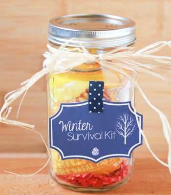 Surprise your child's teacher with a Teacher's Winter Survival Kit. Using products from your local pharmacy, make a cute gift using a mason jar.