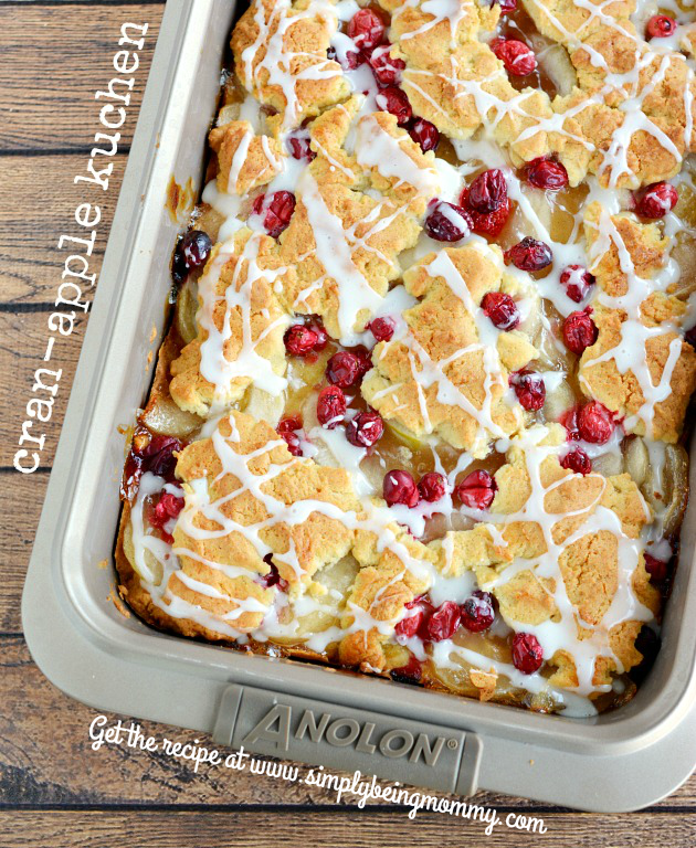 Lightened Up Cran-Apple Kuchen Recipe = All the flavors you love and enjoy without all the calories! Easy recipe for the holidays!