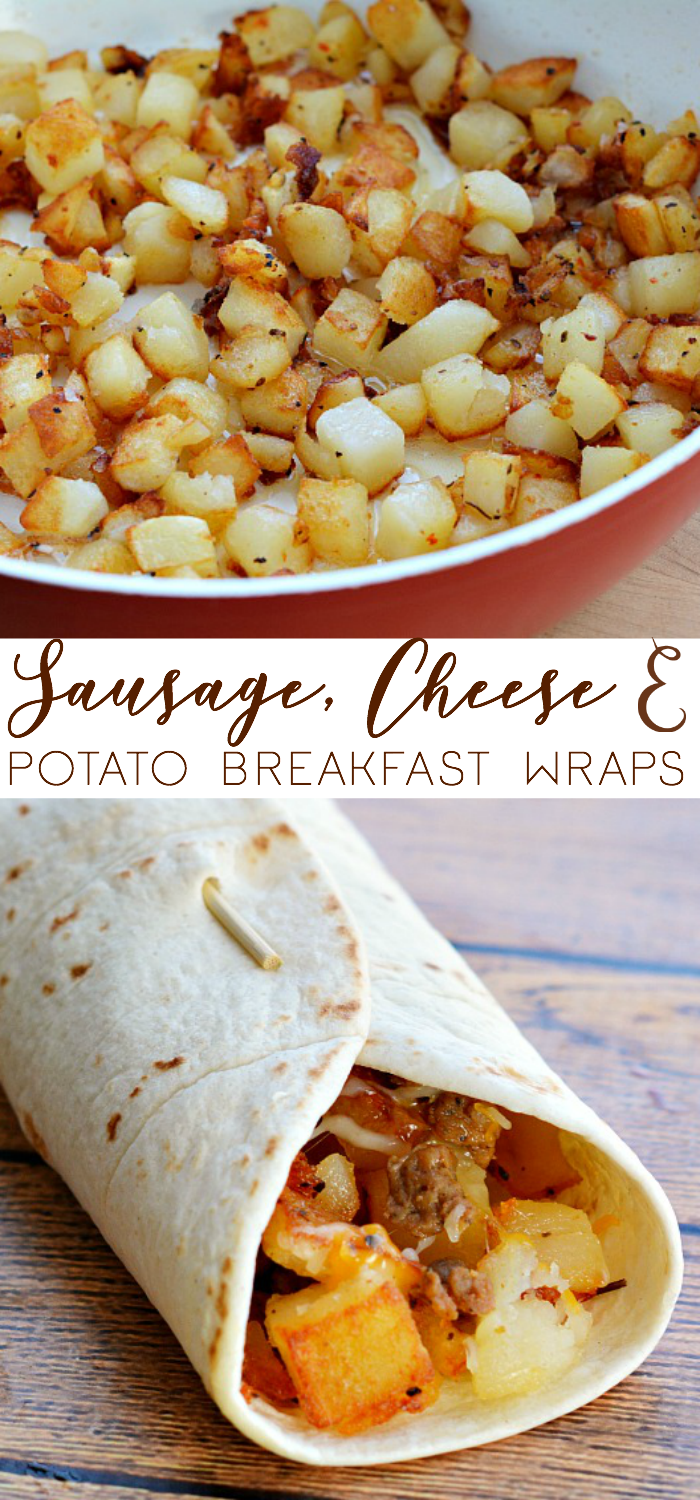 Get your morning off to a great start with Sausage, Cheese & Potato Breakfast Wraps.