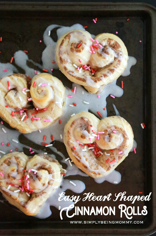 These Easy Heart Shaped Cinnamon Rolls are super cute, easy to make, and perfect for a Valentine's Day breakfast.