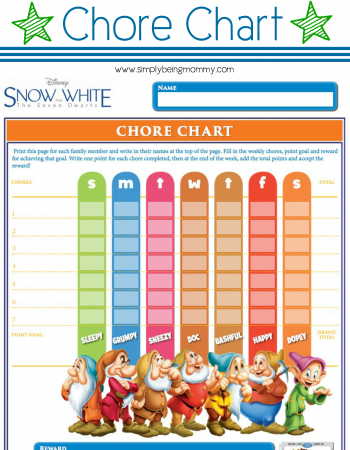Do your kids need a little incentive to help with chores? Print this free Snow White Chore Chart and add your own incentives.