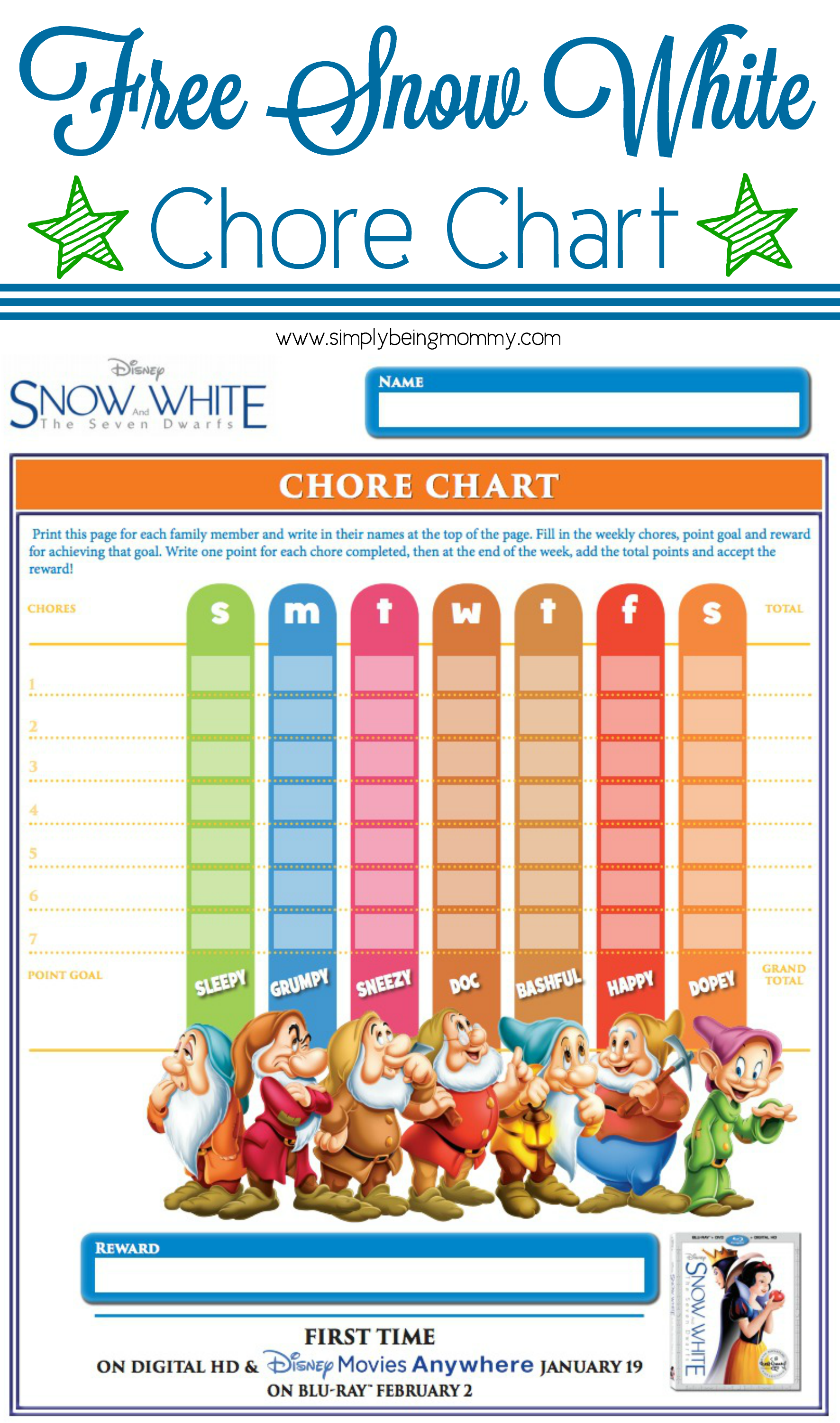 Snow white chore chart simply being mommy nvjuhfo Image collections