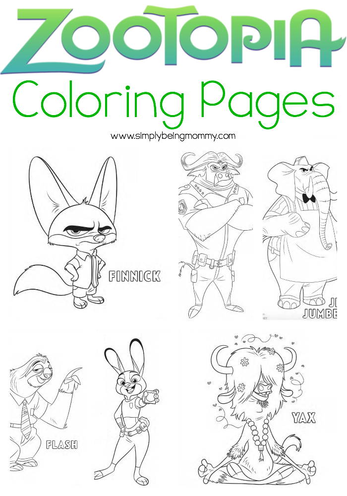 Zootopia Coloring Pages | Simply Being Mommy