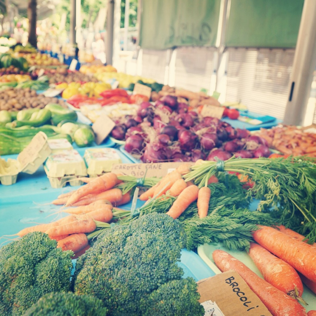 fresh fruits and vegetables at a farmers market in france