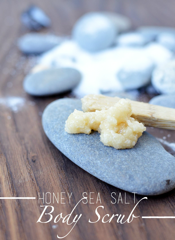 An easy DIY body scrub perfect for hard to remove paints and markers on your hands. All you need is two ingredients for this Honey Sea Salt Body Scrub.