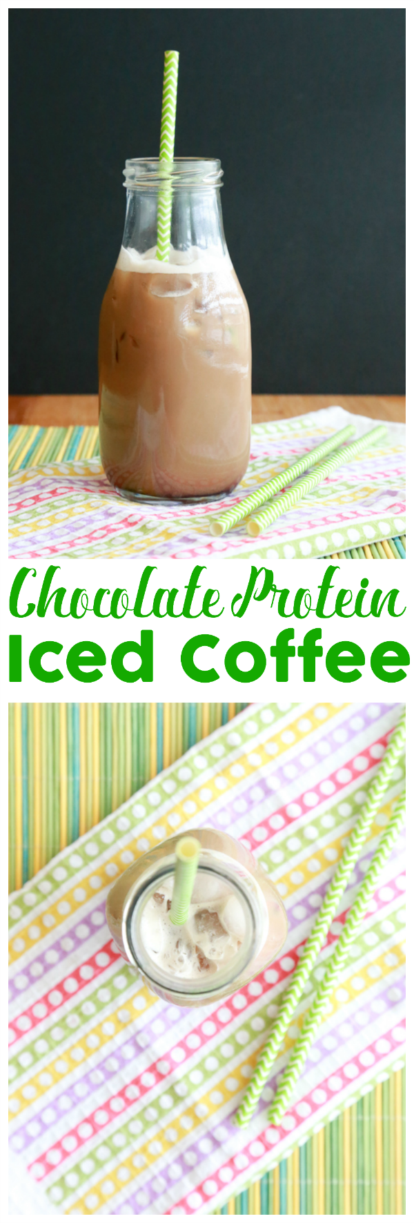 Sneak in a little protein in your morning coffee with this easy Chocolate Protein Iced Coffee recipe.