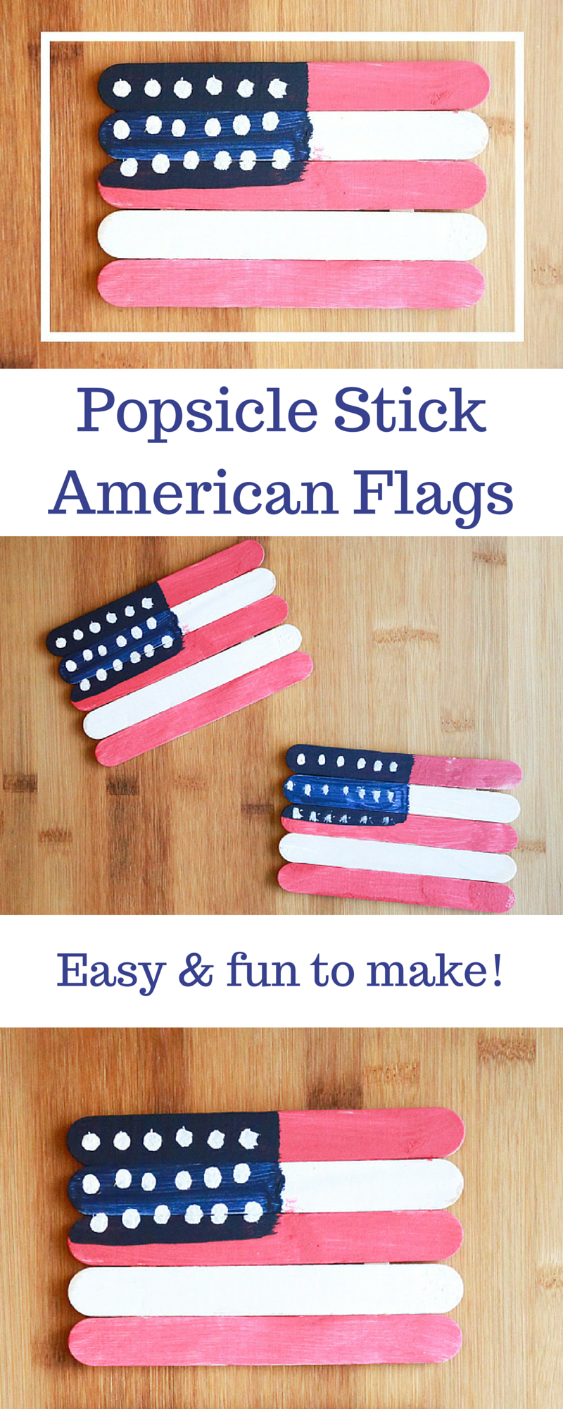 Spend some time indoors out of the summer heat making these super easy and fun Popsicle Stick American Flags! They make festive decor for the 4th of July.