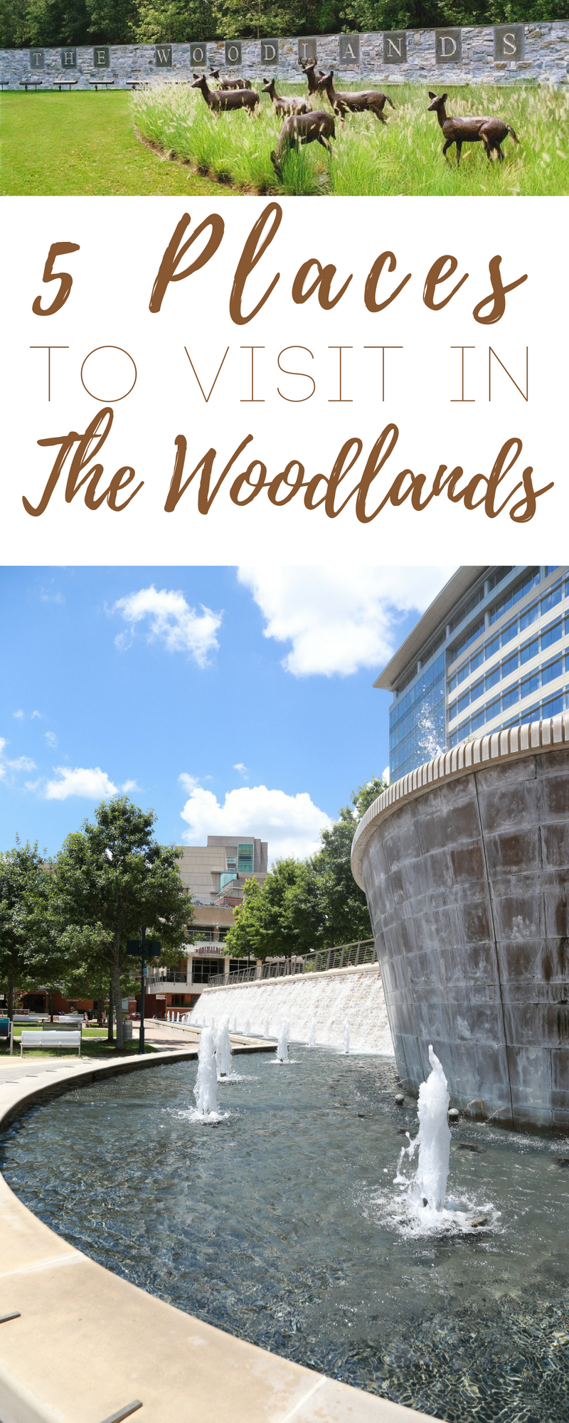If you plan on visiting the Houston area, here are 5 places to visit in The Woodlands, Texas, a small community on the north side of Houston.