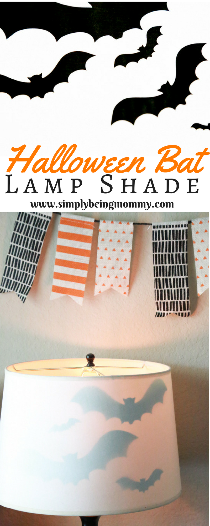 Get the right amount of spooky with this Halloween Bat Lamp Shade. Such a simple way to decorate for Halloween.