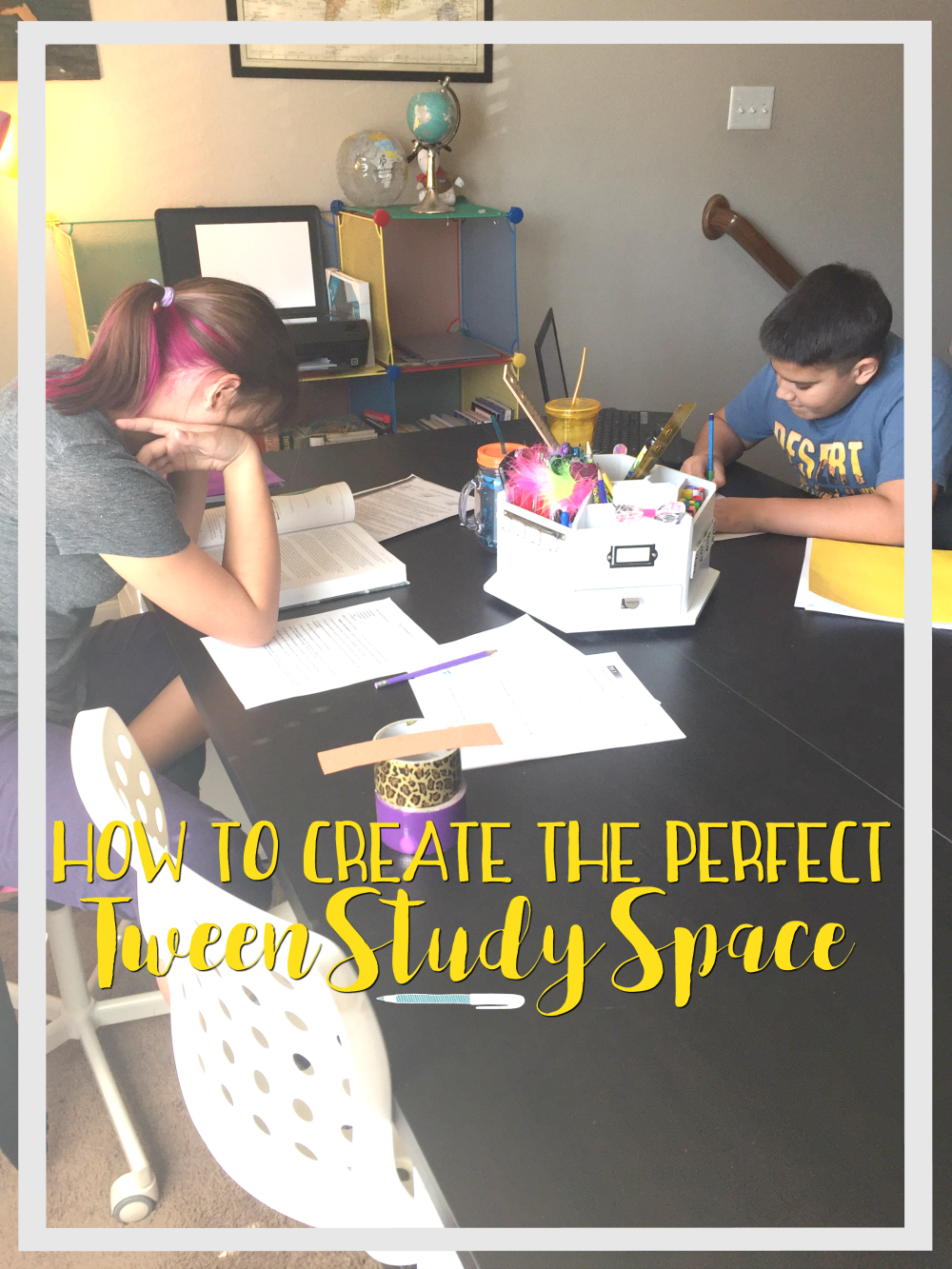 Learn how to creae the perfect tween study space for your child with these four easy steps.