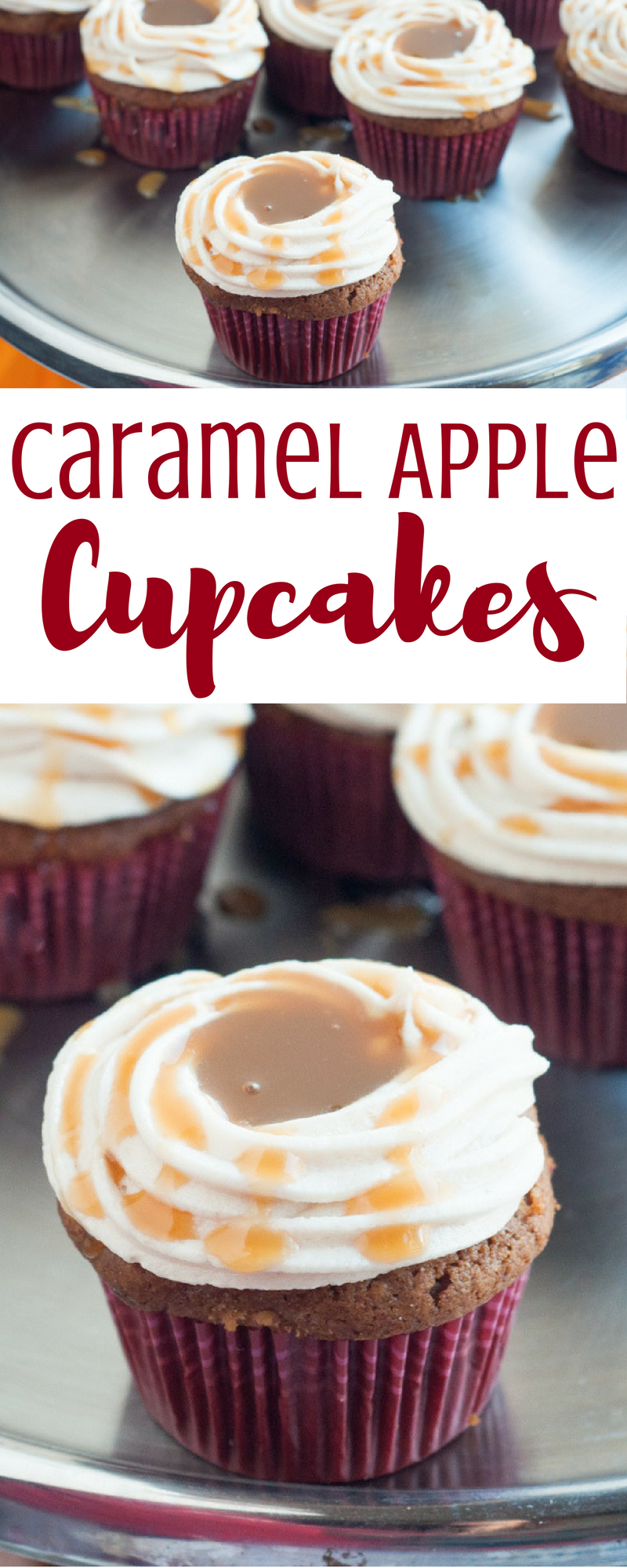 Love Caramel Apples? Then you'll love these delicious Caramel Apple Cupcakes featuring your favorite fall flavors! Get the recipe.